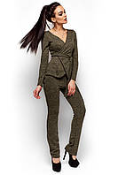 Женский брючный костюм, трикотаж ангора, хаки, размеры 42-44, 44-46