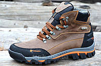 Крутые зимние мужские ботинки на меху, натуральная кожа коричневые Харьков 2017 (Код: 911)