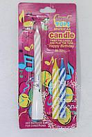 Музыкальная свеча для торта, 7см. В набор входит 1 основа и 3 свечи.