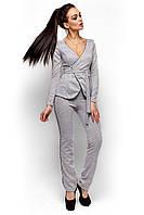 Женский брючный костюм, трикотаж ангора, серый, размер 42-44