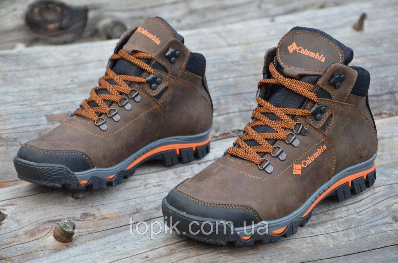 ddcbbd95bd50 Крутые зимние мужские ботинки натуральная кожа, мех, шерсть коричневые  молодежные (Код: 916а
