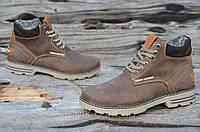 Ботинки мужские зимние коричневые, матовые натуральная кожа, шерсть, мех прошиты (Код: 920а)