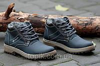 Мужские зимние ботинки темно синие модные натуральная кожа, мех, шерсть Харьков 2017 (Код: 931)