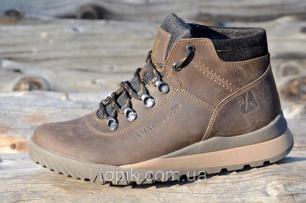 Мужские зимние спортивные ботинки натуральная кожа, толстая подошва коричневые, матовые (Код: 941)