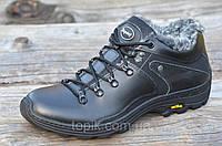 Мужские зимние спортивные ботинки низкие черные натуральная кожа прошиты Харьков 2017 (Код: 942)