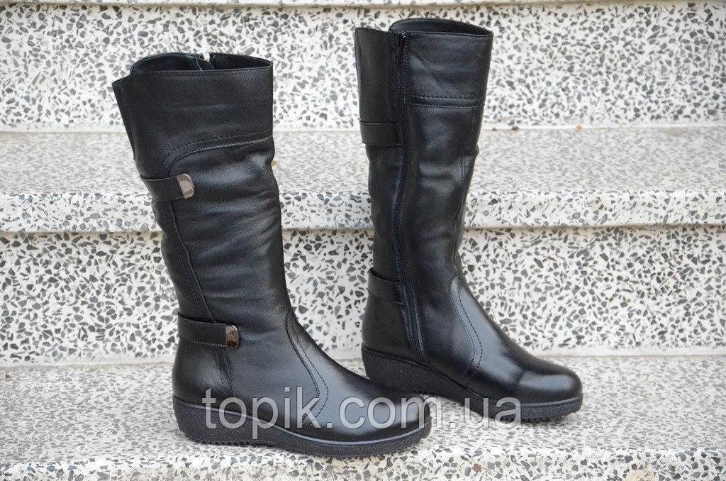 Сапожки на танкетке женские зимние натуральная кожа, мех черные красивые  (Код: 894а)