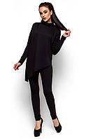 Женский брючный костюм, трикотаж двунитка, чёрный, размеры 42-44, 44-46, 46-48
