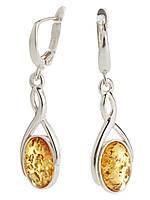 Серьги серебряные с янтарем