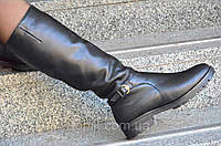Женские зимние высокие сапожки черные хорошая натуральная кожа удобная колодка Львов (Код: 937). Только 36р!
