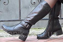 Женские зимние высокие сапожки черные хорошая натуральная кожа толстая подошва Львов (Код: 938)