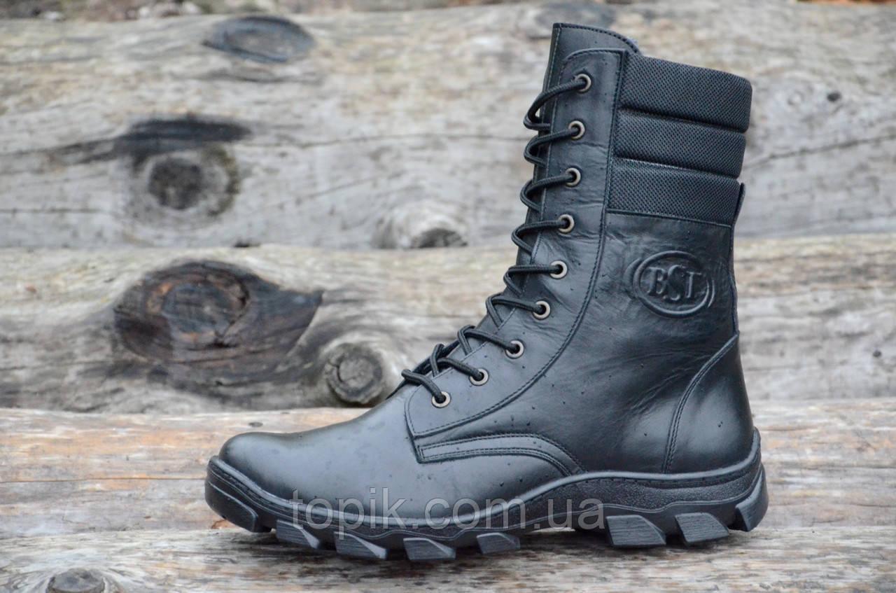 Зимние мужские высокие ботинки, берцы натуральная кожа, прошиты высокая подошва черные (Код: 956)