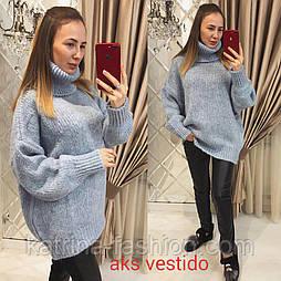 Женский теплый удлиненный свитер под горло большого размера в расцветках (Турция)
