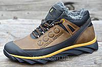 Зимние мужские кроссовки на меху, натуральная кожа стильные коричневые с черным (Код: 909)