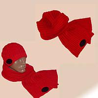 Вязаная мужская шапка (утепленный вариант) и шарф спортивного силуэта