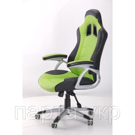 Кресло Форсаж  черный/зеленые вставки
