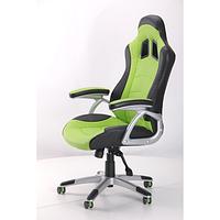 Кресло Форсаж  черный/зеленые вставки, фото 1