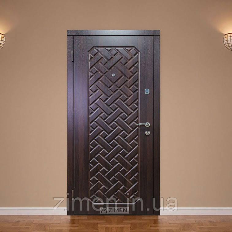 Вхідні двері ДО-2 АГАТА короб. 75х30 горіх темний