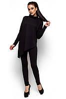 Женский брючный костюм, трикотаж двунитка, чёрный, размеры 42-44