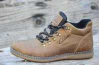 Мужские зимние полуботинки ботинки натуральная кожа светло коричневые, матовые прошиты (Код: 958)