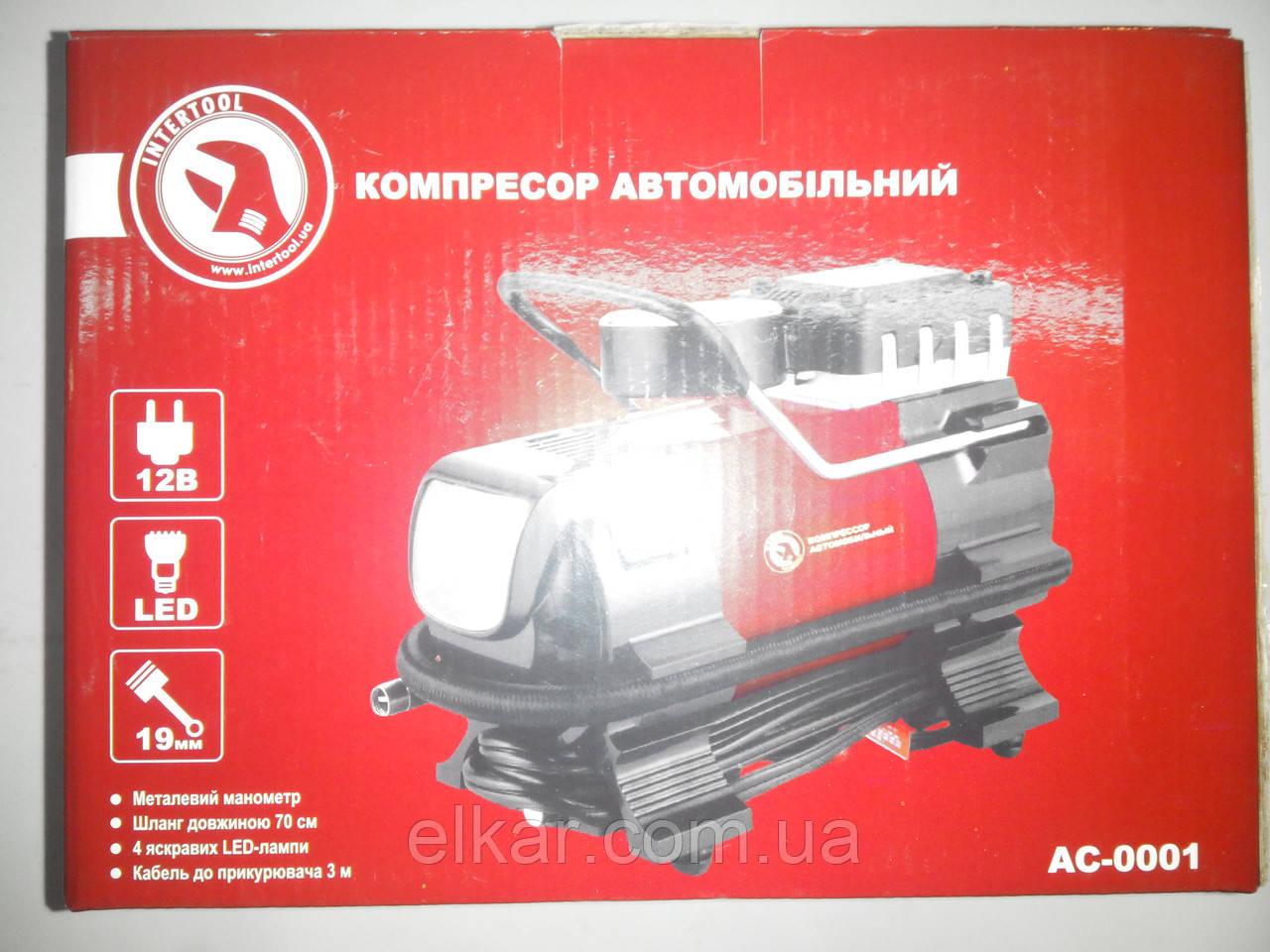 Компресор автомобільний 12В один циліндр 19 мм, 7 атм., 20 л/хв, ліхтар LED (коробка) AC-0001