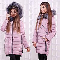 Современная куртка на зиму в нежно розовой расцветке