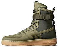 Мужские высокие кроссовки Nike SF Air Force 1 Green Найк Аир Форс зеленые