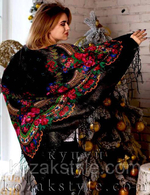 Українська хустка (125х125) чорна з люрексом