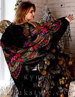 Українська хустка (125х125) чорна з люрексом, фото 1
