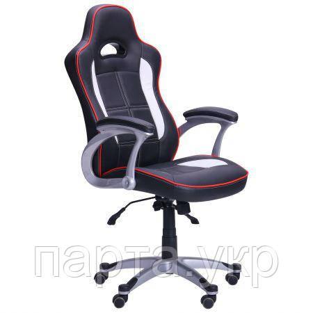 Кресло игровое Драйв  черный/белые вставки