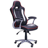 Кресло игровое Драйв  черный/белые вставки, фото 1
