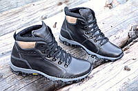 Мужские зимние спортивные ботинки натуральная кожа, прошиты черные толстая подошва (Код: 965а)