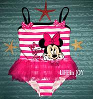 """Детский купальник для девочки 2 - 3 года розовый """"Микки Маус"""" совместный (слитный) с рюшами  из фатина"""