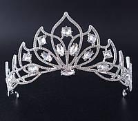 214 Свадебная высокая корона, диадема с кристаллами. Элитные свадебные украшения на голову.