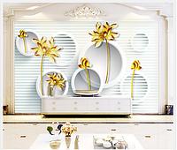 """3D фотообои """"Золотые цветы с кругами"""""""