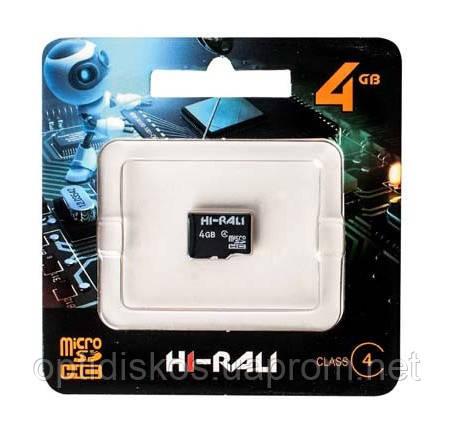 Карта памяти micro SDHC HI-RALI 4GB class 4 (без адаптера)