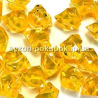 """(400 грамм) Кристаллы пластик 25х15мм (""""Искусственный лед"""") Цвет – насыщенно желтый"""