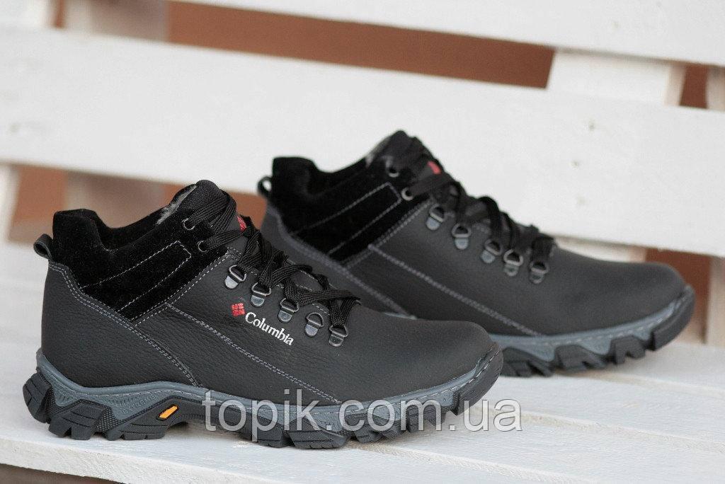 Ботинки спортивные полуботинки зимние кожа      мужские черные (Код: 184а)