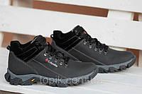 Ботинки спортивные полуботинки зимние кожа Columbia  Коламбия реплика мужские черные (Код: 184а)