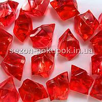 "(400 грамм) Кристаллы пластик 30х20мм (""Искусственный лед"") Цвет – КРАСНЫЙ"