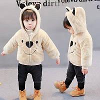 Кофта-пальто Мишка унисекс молочного цвета