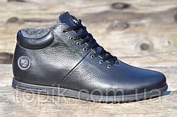 Мужские зимние полуботинки, ботинки натуральная кожа, мех черные популярные Харьков (Код: 979)