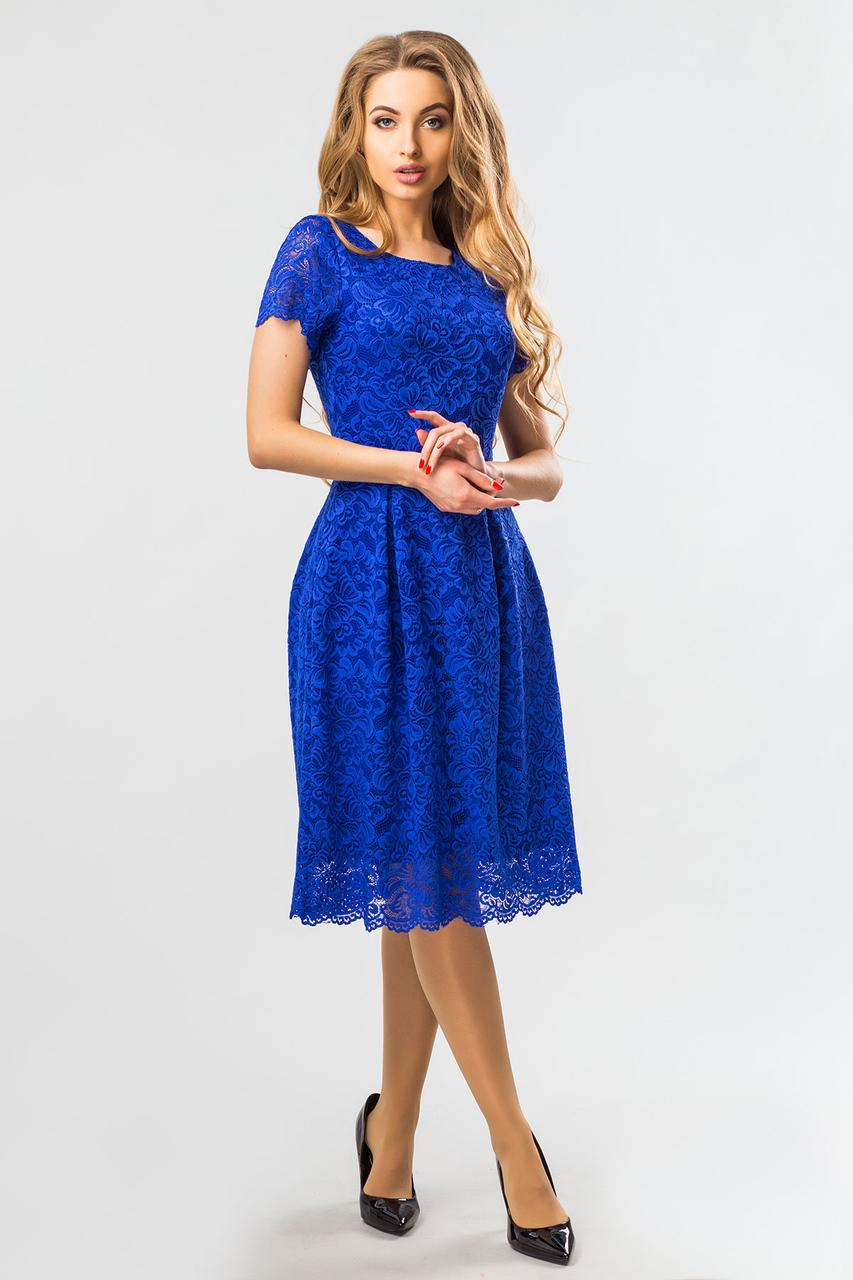 be988cf75de448f Вечернее женское синее кружевное платье до колен с коротким рукавом -