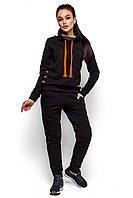 Женский костюм, трёхнить на флисе, чёрный, размеры 42-44, 44-46