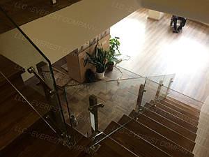 Перила из нержавеющей стали со стеклом без поручня