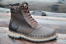 Зимние мужские ботинки, сапожки прошиты натуральная кожа, мех коричневые, матовые (Код: 993). Только 42р!