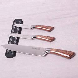 Набор кухонных ножей (закаленная сталь) Kamille,  3 ножа из нержавеющей стали на магнитном держателе