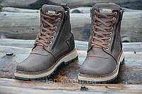 Зимние мужские ботинки, сапожки прошиты натуральная кожа, мех коричневые, матовые (Код: 993а). Только 42р!, фото 1