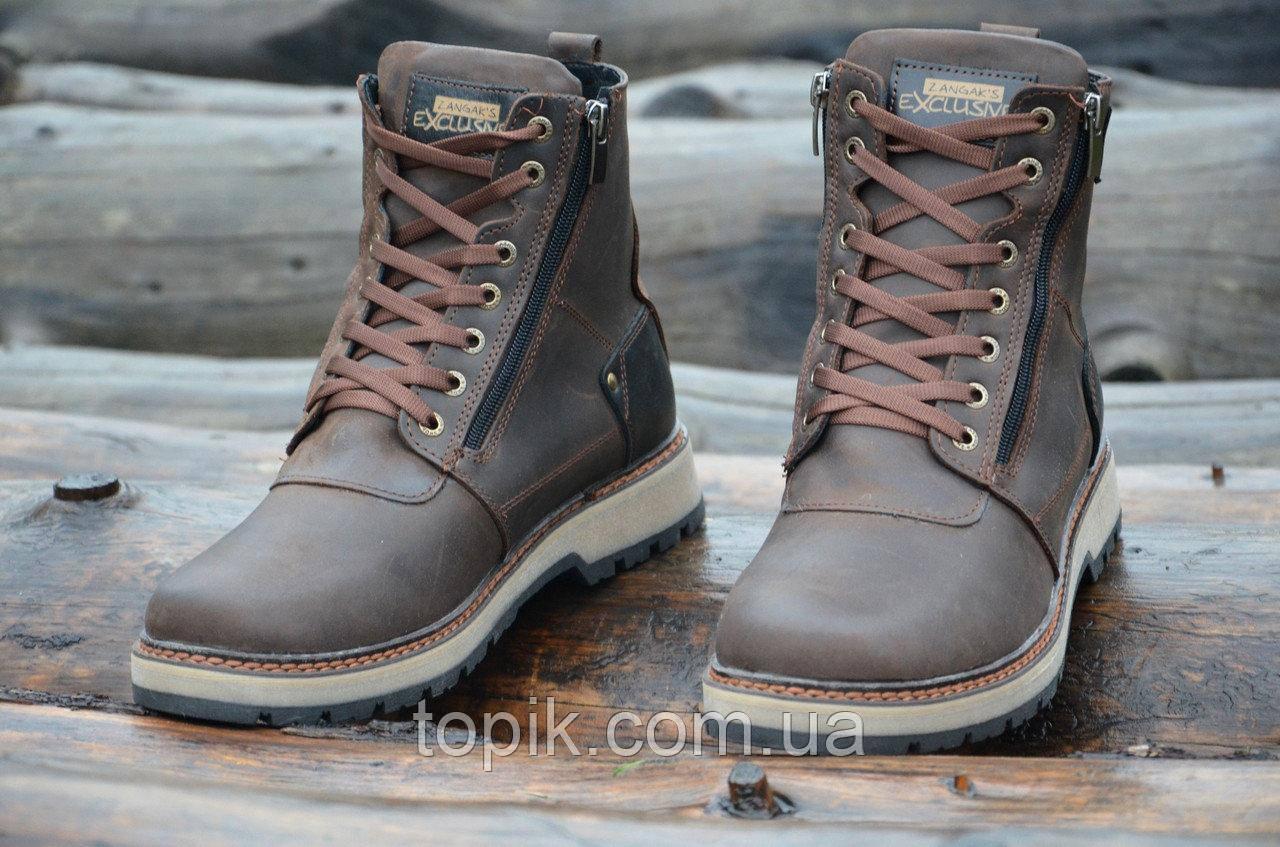 Зимние мужские ботинки, сапожки прошиты натуральная кожа, мех коричневые, матовые (Код: 993а). Только 42р!