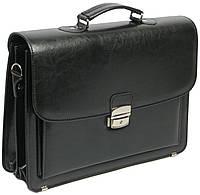 Портфель деловой из искусственной кожи 3 отдела, Jurom Польша 0-38-111 чёрный