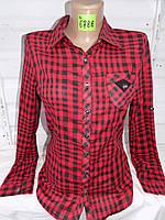 Рубашка женская с длинным рукавом весна-осень трансформер в клетку 8908 оптом со склада